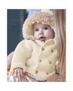Phildar baby jasje breien met bont op de capuchon (200, model 19)