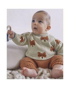 Phildar baby trui met beertjes breien van Lambswool (200, 32)