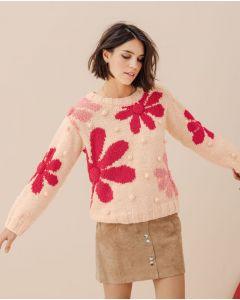 Phildar dames trui met bloemen en knopjes breien (190,m7)