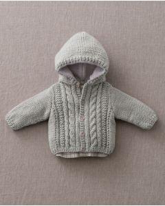 Phildar gestreept baby kabel vestje van Merinos 6 en Phil baby doll.