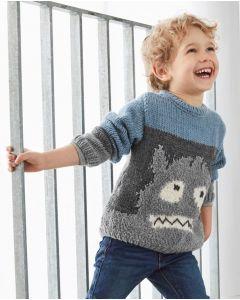 Phildar jongens trui met een monster breien.
