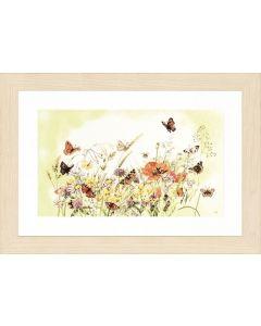 Lanarte borduurpakket Vlinders met bloemen met telpatroon op katoen pn 0007967
