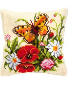 Kruissteek borduurkussen Bloemen met vlinder vervaco  pn-0008548