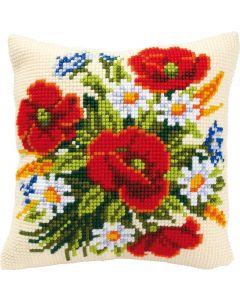 Borduurpakket borduurkussen boeket bloemen in kruissteek van vervaco  pn-0008562