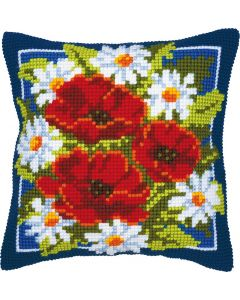 Vervaco kruissteek borduurkussen rode bloemen  pn-0008615