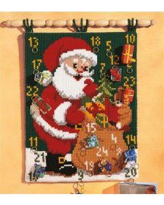 Borduurpakket kruissteek wandtapijt adventkalender voor de kerst met kerstman