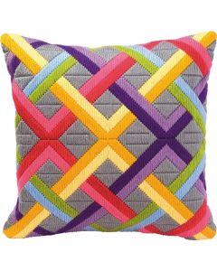 Vervaco voorbedrukte spansteek kussen kleurrijke diagonalen op grijs pn-0010865