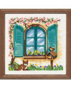 Borduurpakket poes voor het raam lente telwerk van Vervaco
