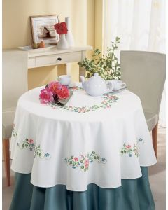 Vervaco borduurpakket rond tafelkleed bloemen voorbedrukt borduren 170 cm