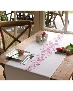 Vervaco borduurpakket roos/paarse fantasie loper pn-0012996 voorbedrukt in platsteek 38x142 cm