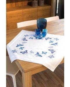 Vervaco tafelkleed Blauwe vlinders borduren PN-0145088 voorbedrukt  kruissteek