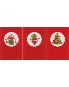 Wenskaarten met omslag kerst set van 3 om te borduren Vervaco pn-0145622