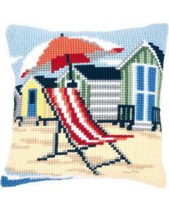 Vervaco borduurpakket op het strand pn-0145641 kruissteekkussen voorbedrukt