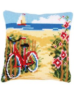 Vervaco Borduurpakket kussen kruissteek fiets aan het strand pn-0148559 om te borduren
