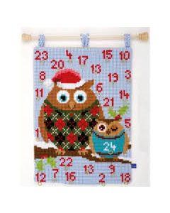 Vervaco voorbedrukt kruissteek wandtapijt adventkalender kerstuilen pn-0154733