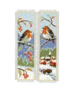 Vervaco borduurpakket 2 boekenleggers wintervogels pn-0155656