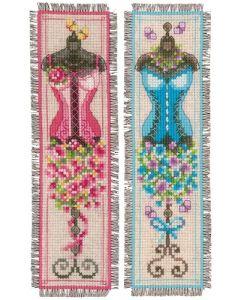Vervaco borduurpakket 2 boekenlegger Retro paspoppen borduren PN-0155785