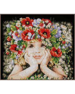 Lanarte borduurpakket meisje met bloemen pn-0156698 op zwart aida