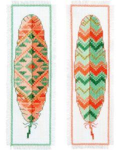 Borduurpakket 2 boekenlegger van INDIANENVEREN om te borduren  Vervaco pn-0156894