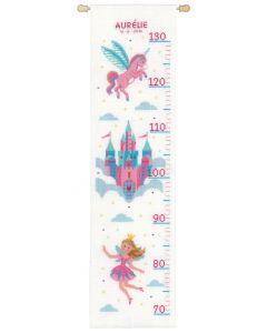 Vervaco borduurpakket groeimeter Prinses met eenhoorn PN-0158313