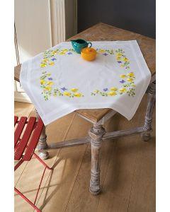 Borduurpakket voorbedrukt tafelkleed Lentebloemen Vervaco PN-0162071