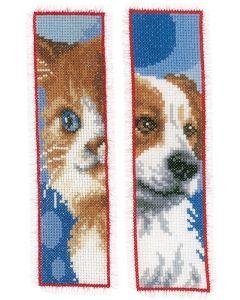 Borduurpakket boekenlegger van hond en kat om te borduren vervaco pn-0162195
