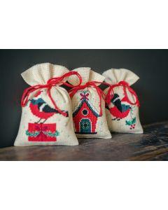 Vervaco borduurpakket kruidenzakje 3 st. kerstvogeltje en huisje pn-0162245