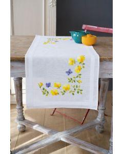 Borduurpakket voorbedrukte loper lentebloemen om te borduren spansteek Vervaco pn-0163025