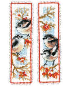 Borduurpakket 2 boekenlegger van staartmeesjes en rode bessen om te borduren  Vervaco pn-0163595