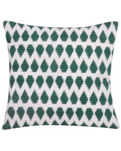 Borduurpakket Schuine spansteekkussen groen - wit met telpatroon la maison victor pn-0163721