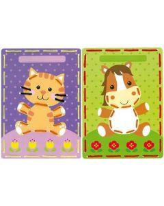 Vervaco borduurpakket 2 borduurkaarten poes en ponny voor kinderen pn-0164929
