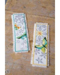 Borduurpakket 2 boekenleggers Vlinder en bloemen Vervaco pn-0165133