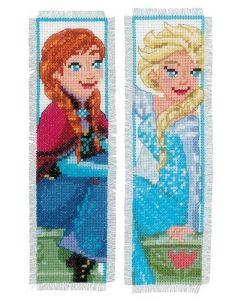 Borduurpakket 2 boekenleggers Sisters forever frozen Disney Vervaco pn-0168474