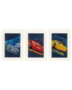 3 Wenskaarten met omslag cars om te borduren Vervaco PN-0168588