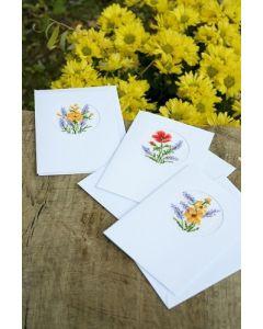 Borduurpakket 3 wenskaarten Bloemen en lavende van Vervaco  PN-0169664