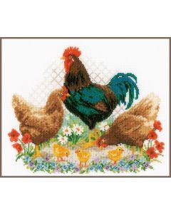 Borduurpakket haan en kippen van Vervaco pn-0170173