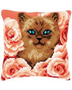 Borduurpakket kruissteekkussen kitten tussen rozen Vervaco pn-0171855