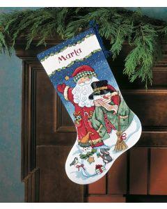 Borduurpakket Kerstsok kerstman met sneeuwpop Dimensions  8714