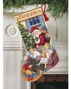 Borduurpakket Kerstsok kerstman sweet dreams  Dimensions Gold collection 8740