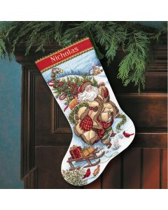 Borduurpakket Kerstsok kerstman op reis  Dimensions Gold collection 8752