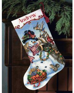 Borduurpakket Kerstsok sneeuwpop met dieren vrienden Dimensions Gold collection 70-08866