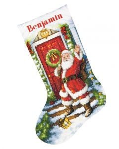 Borduurpakket Kerstsok welkom kerstman Dimensions Gold collection 70-08901