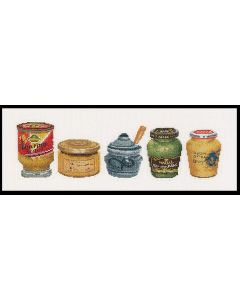 Borduurpakket mosterdpotjes van Thea Gouverneur 3046 aida