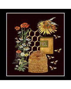 Borduurpakket  merklap honing van Thea Gouverneur 3016 aida