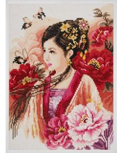 Diamond Painting pakket Asian lady in pink van Lanarte PN-0184323