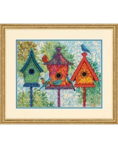 Dimensions borduurpakket voorbedrukt kleurige vogelhuisjes 71-20088