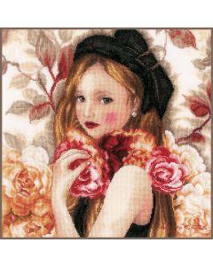 """Lanarte borduurpakket """"The Day when Flowers are Piled Up""""  PN-0184498 op linnen"""