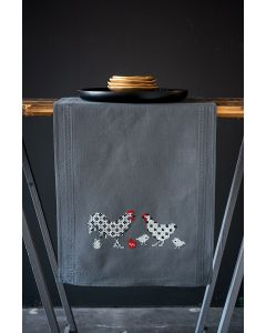 Borduurpakket tafelloper haan en kip van Vervaco pn-0186090 voorbedrukt