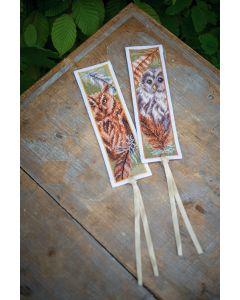 Vervaco borduurpakket 2 boekenleggers uilen met pluimen borduren PN-0187973