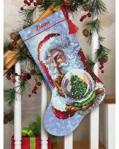 Dimensions borduurpakket Kerstsok kerstman met sneeuwbal borduren 70-08985